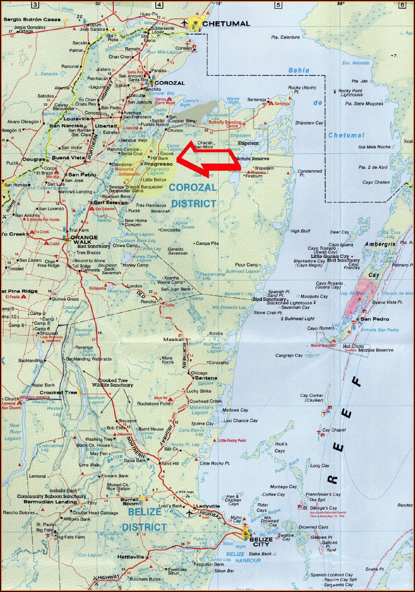 Detailed Road Map Of Belize