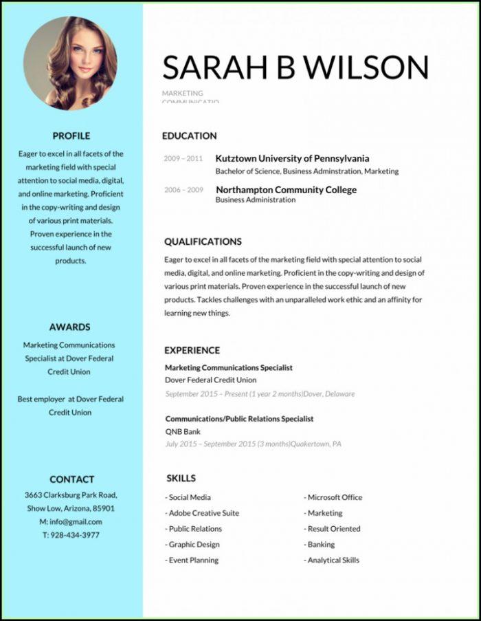 Free Editable Resume Template Pdf