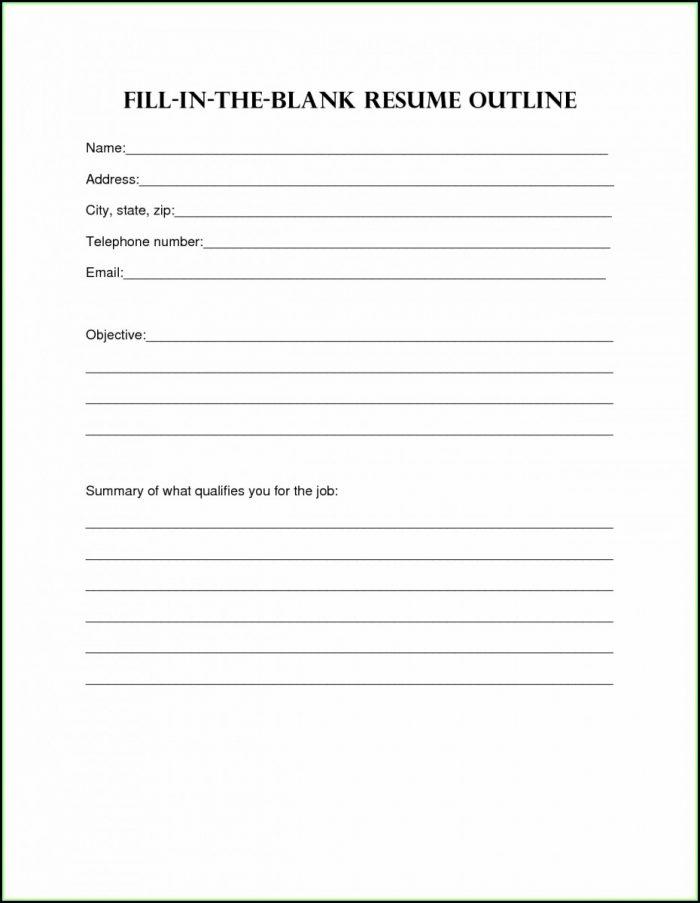 Free Printable Blank Resume Form