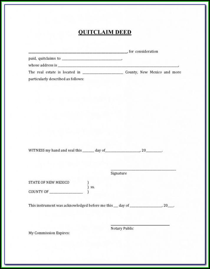 Free Printable Quit Claim Deed Form New Mexico
