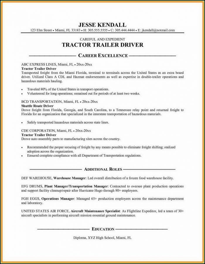 Free Resumes For Truck Drivers
