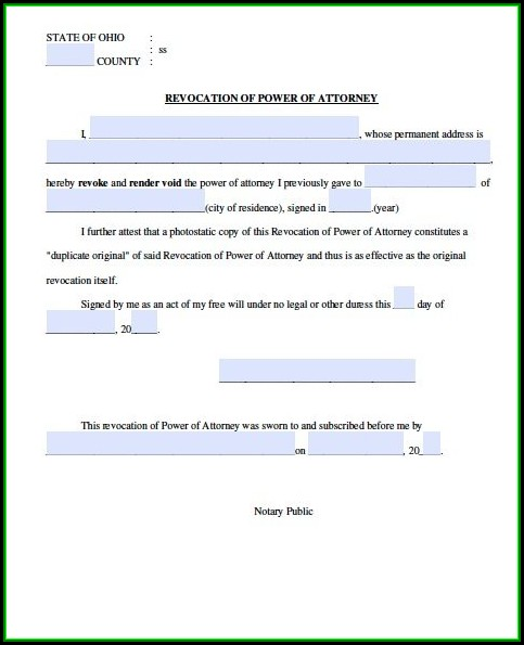 Free Revocation Of Power Of Attorney Form Ohio