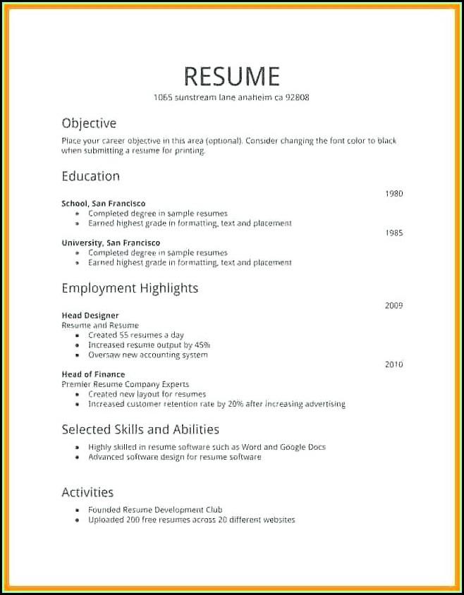 print free resume templates