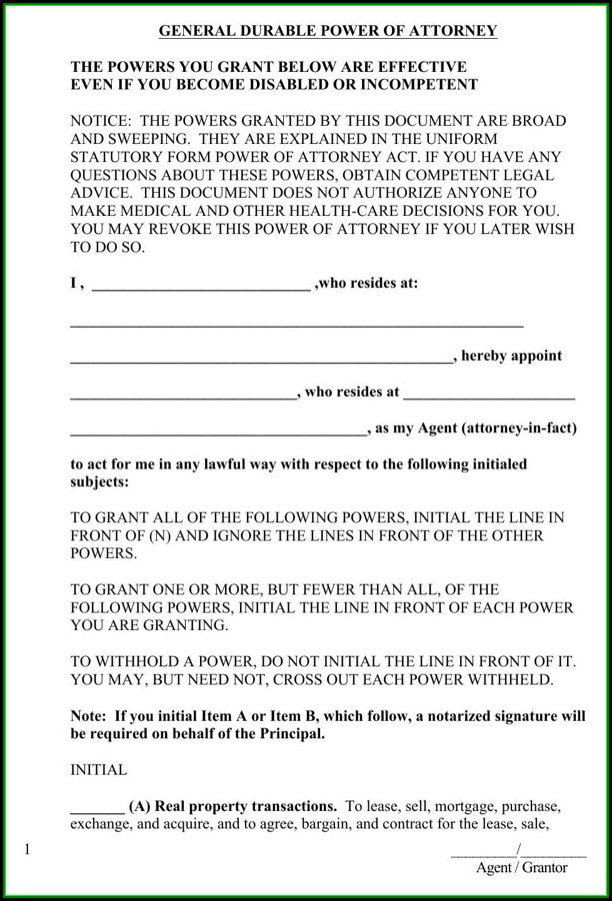 Free Virginia General Durable Power Of Attorney Form
