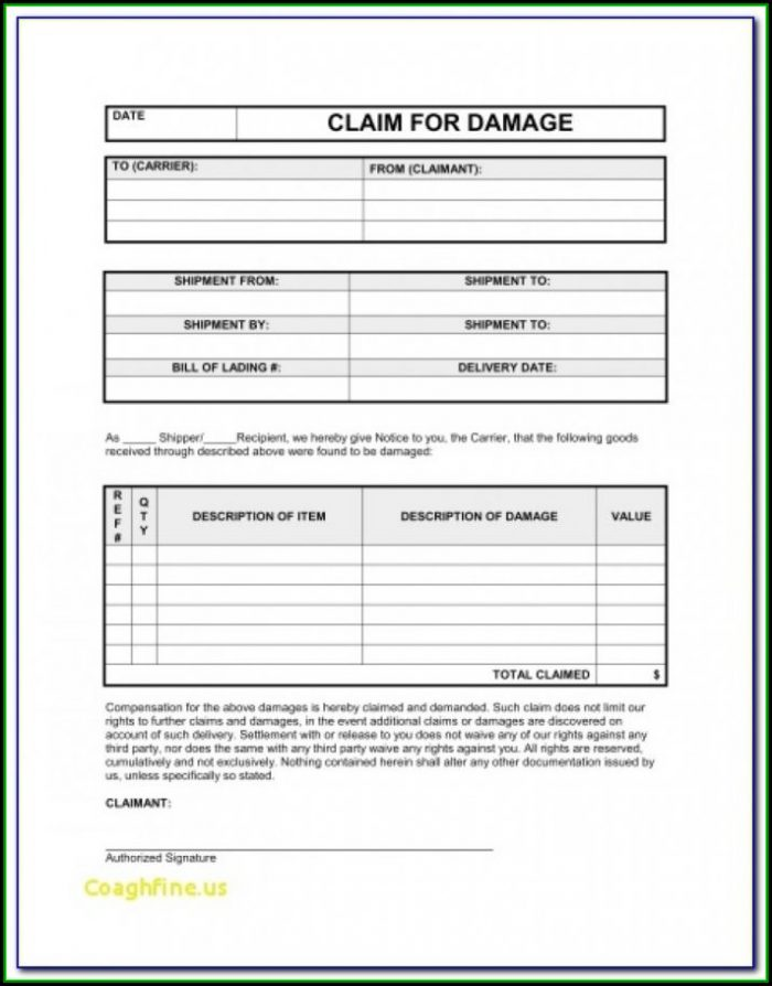 Freight Damage Claim Form Template