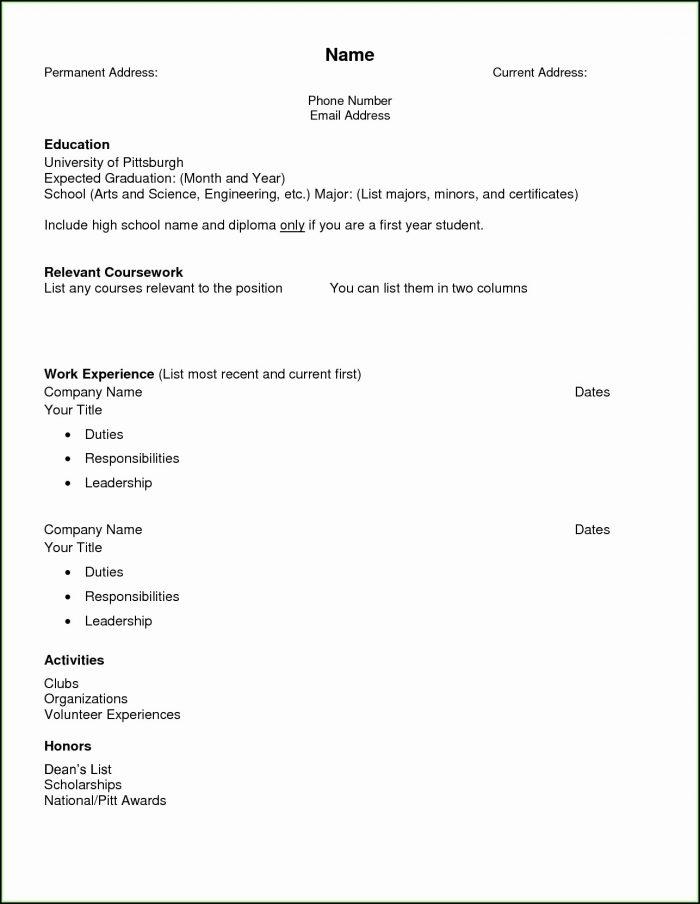 High School Resume Template Printable
