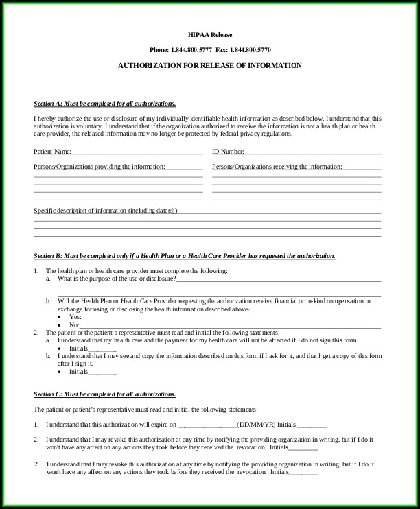 hipaa-sample-authorization-form Sample C Application Forms on