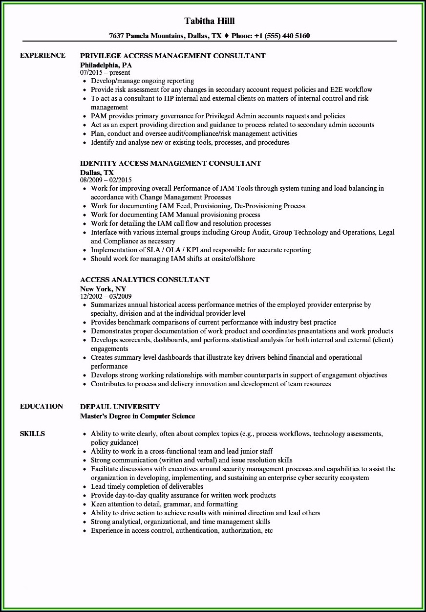 Identity And Access Management Consultant Resume