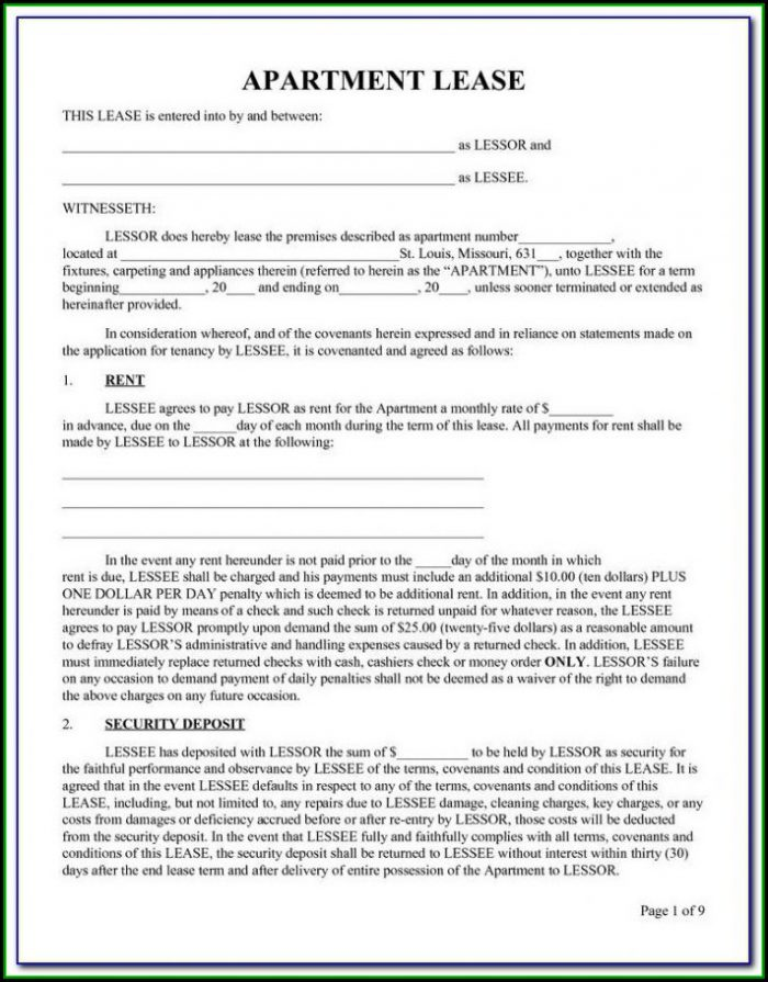 Illinois Renters Lease Form