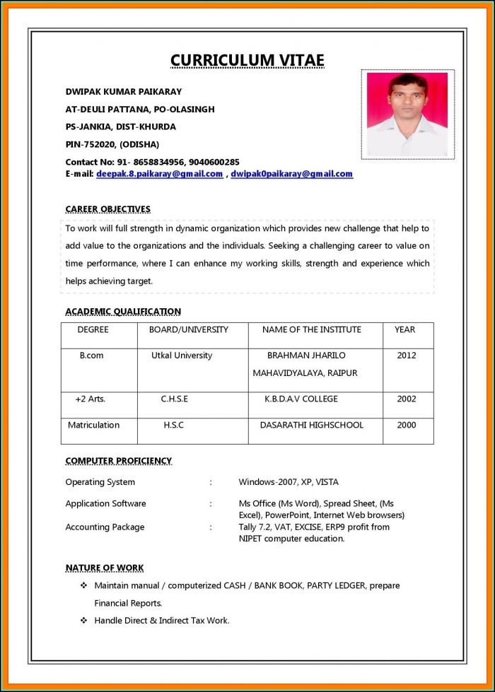 Job Resume Format Pdf