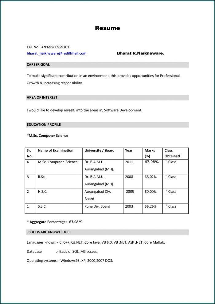 Job Resume Format Pdf For Freshers