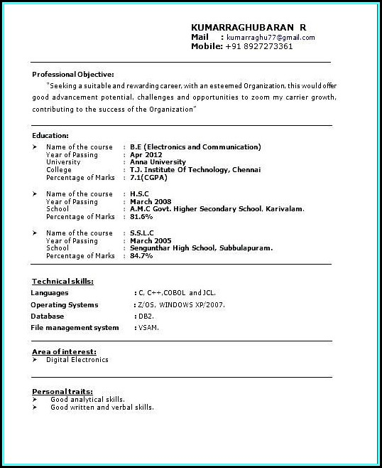 Job Resume Samples For Freshers