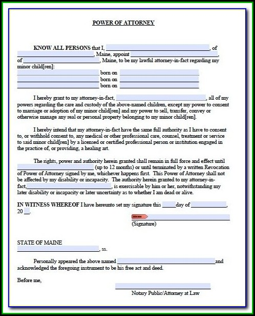 Maine Trailer Power Of Attorney Form