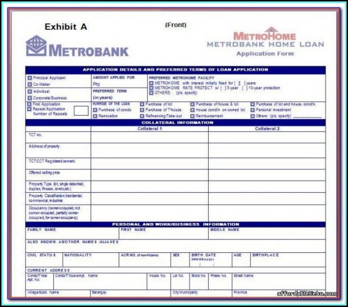 Metrobank Credit Card Application Form Classic