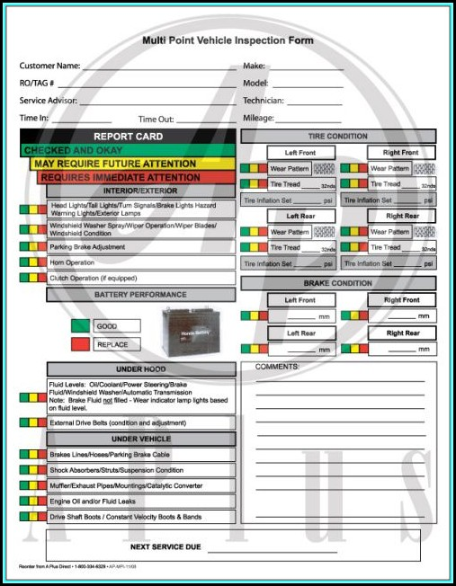 Multi Point Inspection Form Pdf