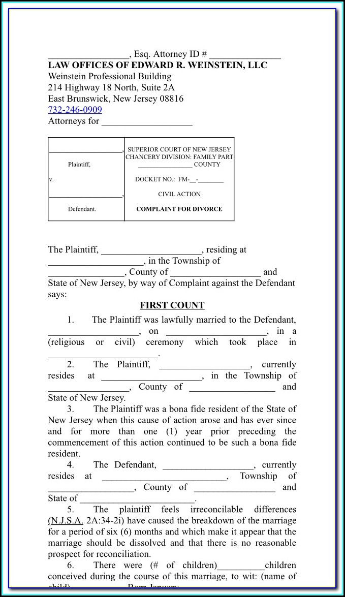 New Jersey Divorce Filing Fees