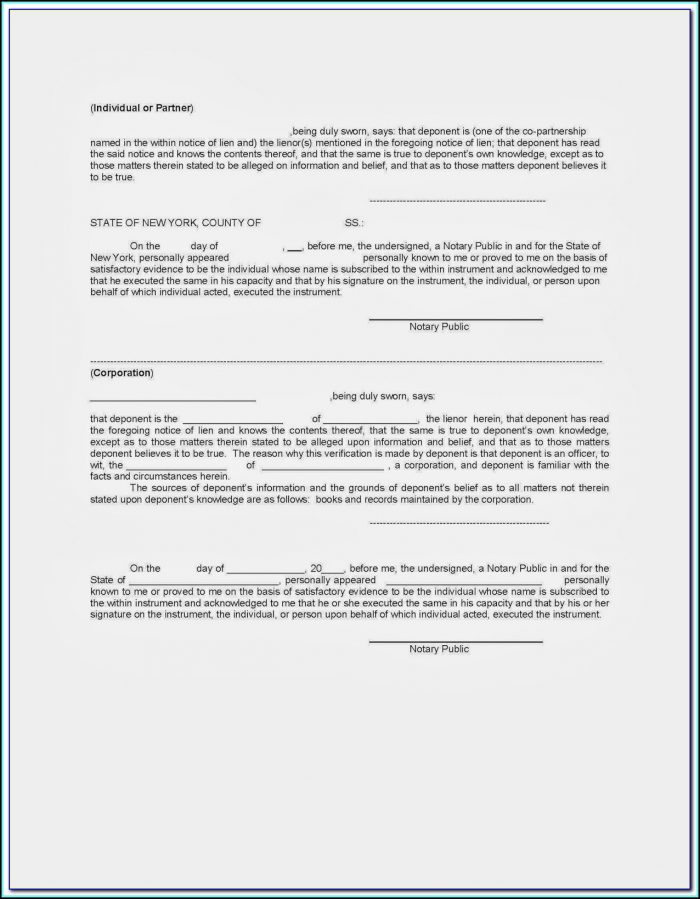 Nys Mechanic Lien Form Free