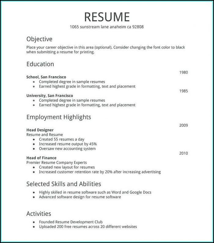 Print A Free Resume
