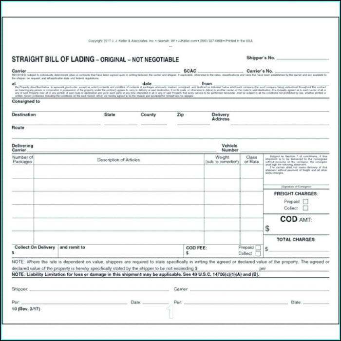 Printable Bill Of Lading Short Form
