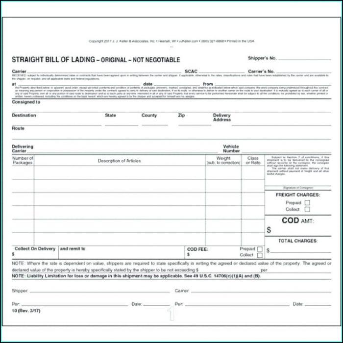 Printable Bill Of Lading Short Form