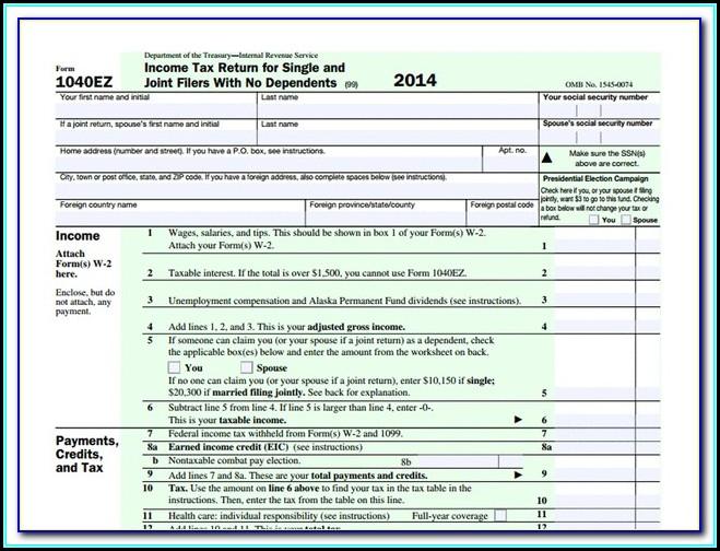 Printable Irs Form 1040ez 2014