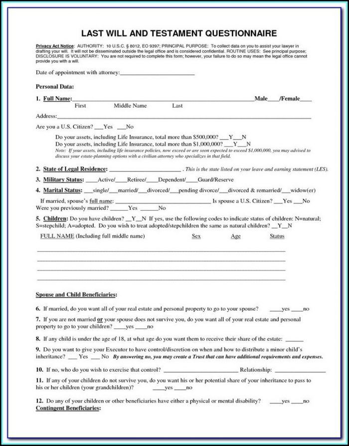 Printable Last Will And Testament Form Wisconsin Free