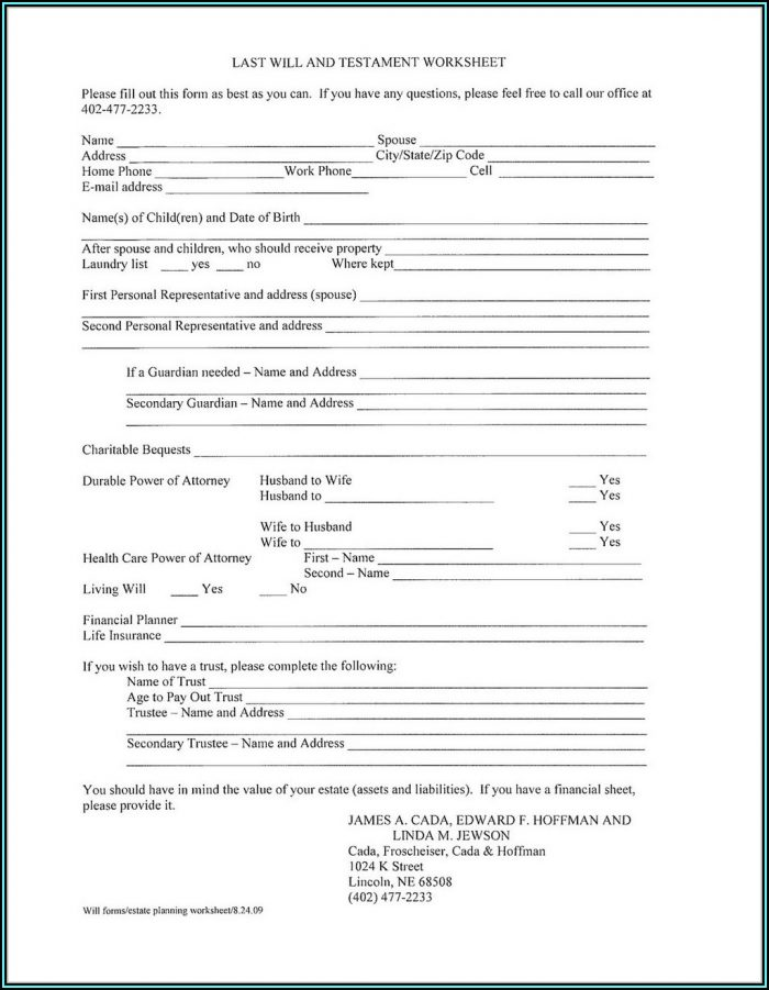Printable Last Will And Testament Forms Ontario