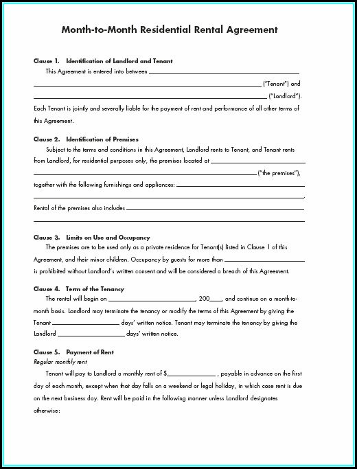 Printable Renters Lease Agreement Form