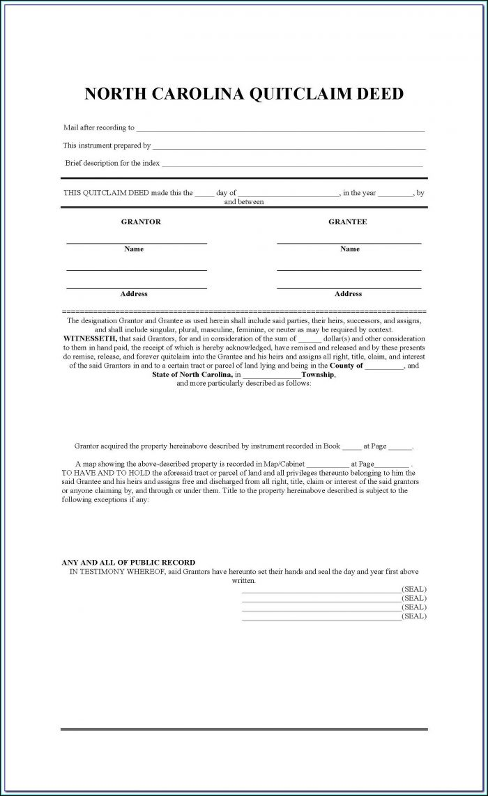 Quit Claim Deed Form Nc