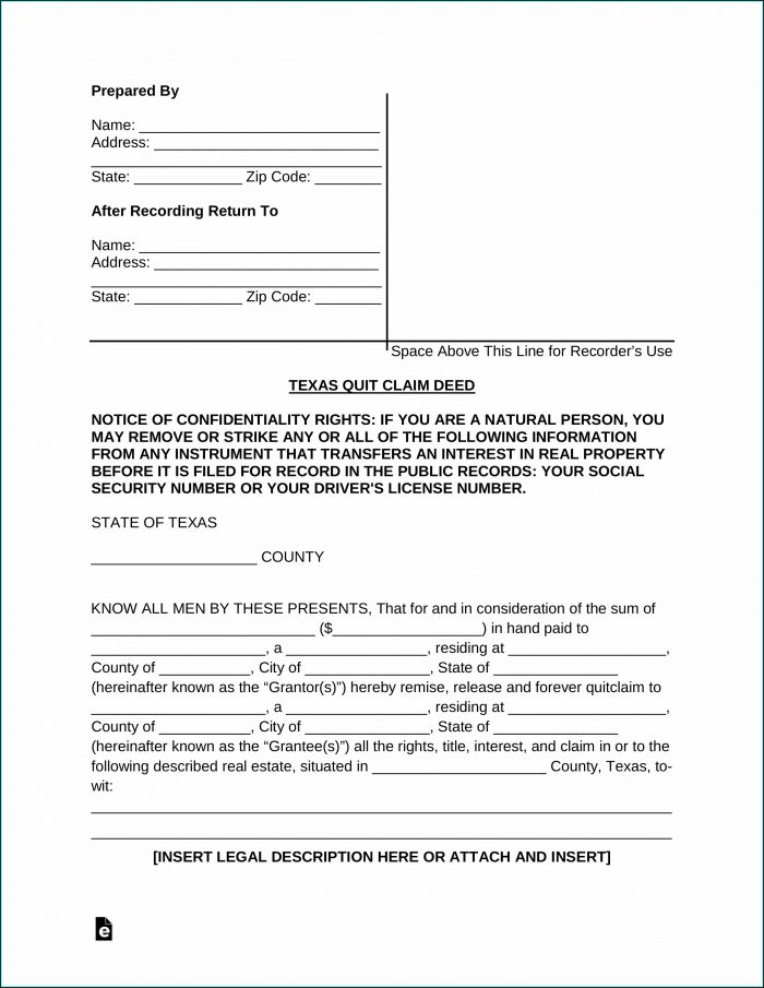 Quit Deed Claim Form Texas