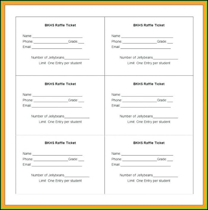 Raffle Ticket Template Excel Free