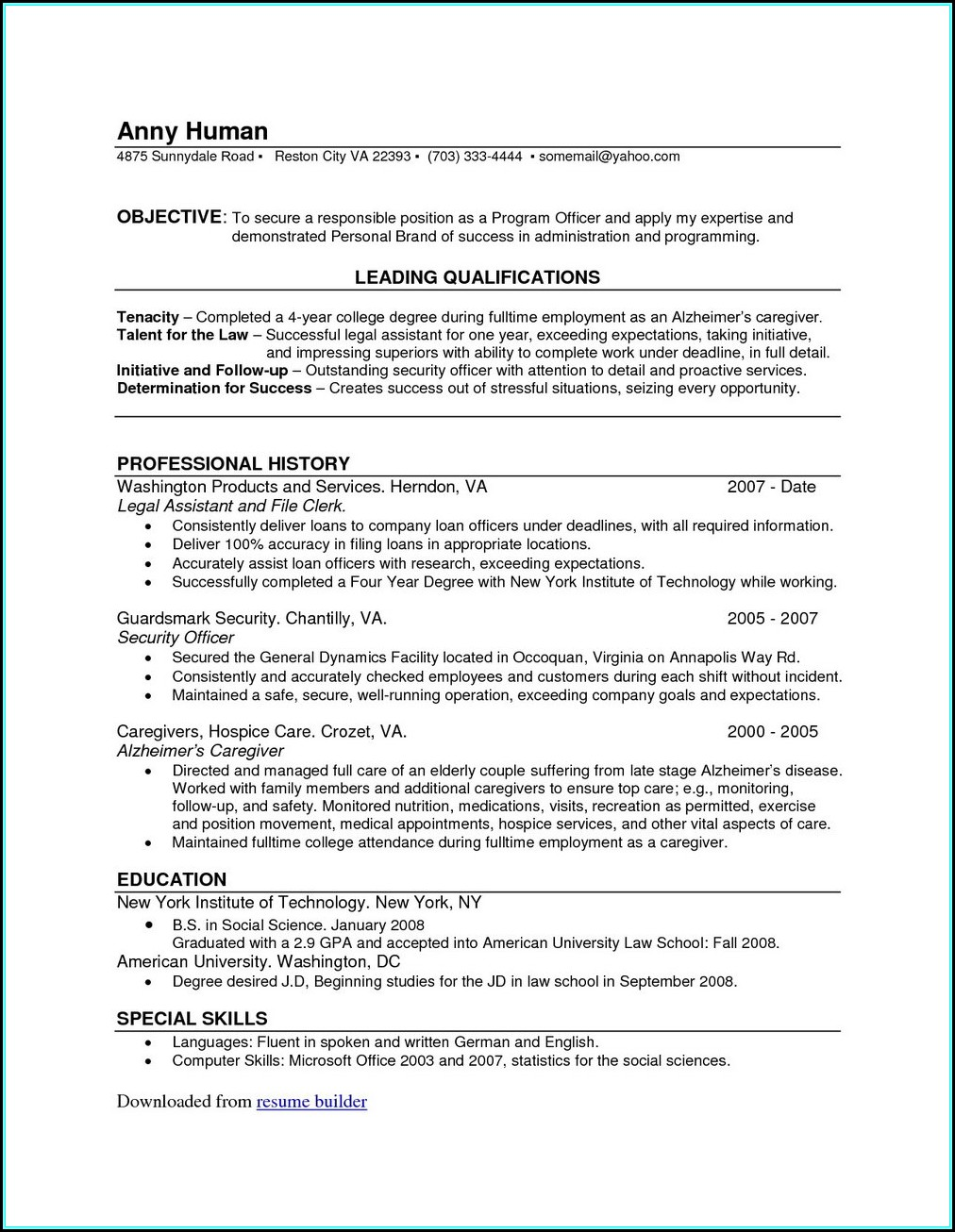 Resume Builder For Pc Free Download