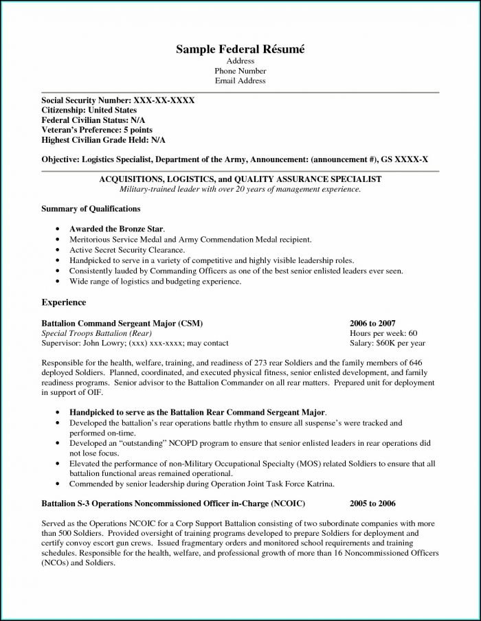 Resume Builder For Vets