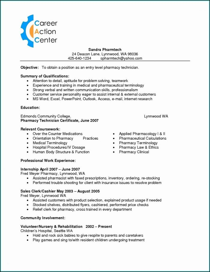 Resume For Cvs Pharmacy Technician