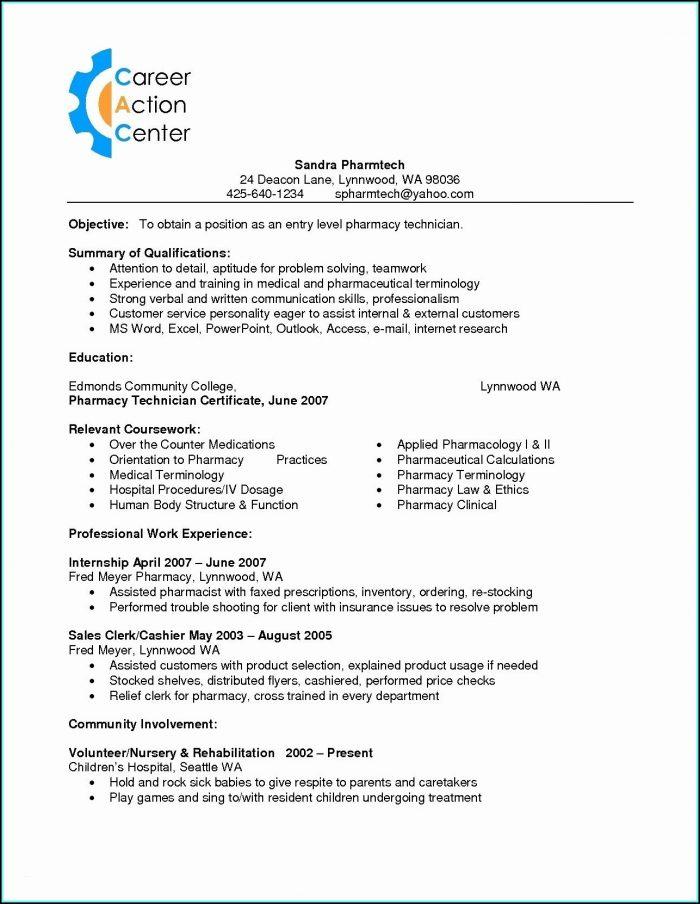 Resume For Cvs Pharmacy Technician