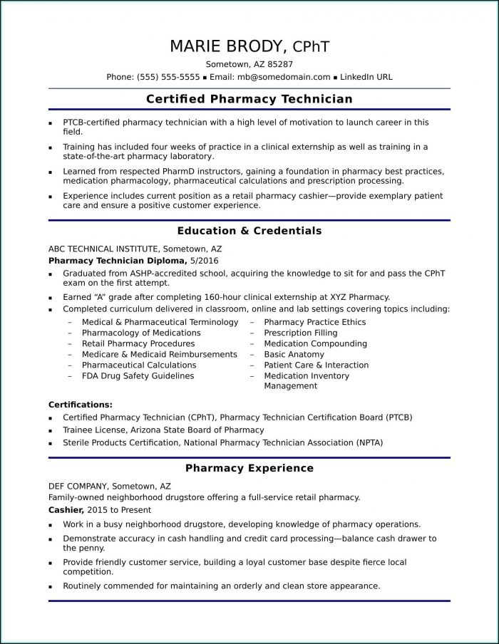 Resume For Pharmacy Technician Trainee