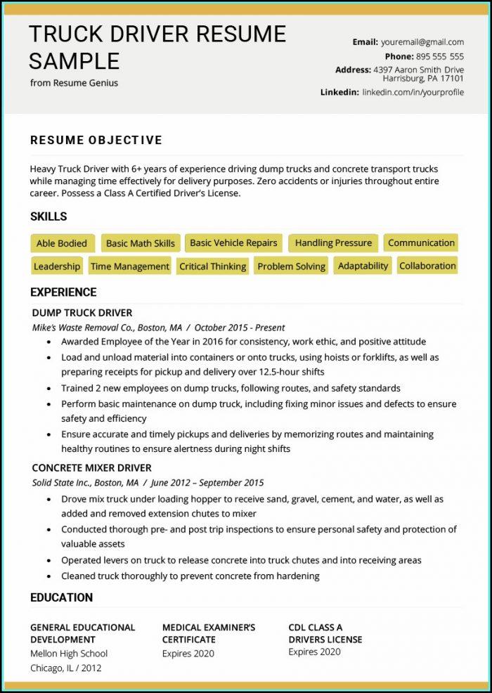 Resume For Truck Driver Australia