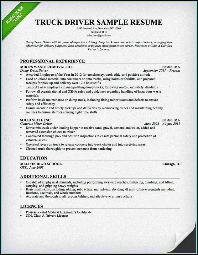Resume For Truck Driver