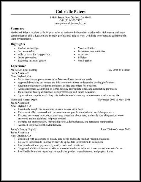 Resume Template For Sales Associate