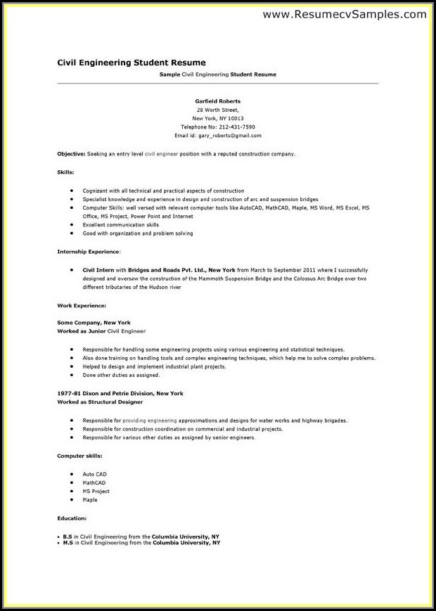 Resume Writing Format For Engineering Students