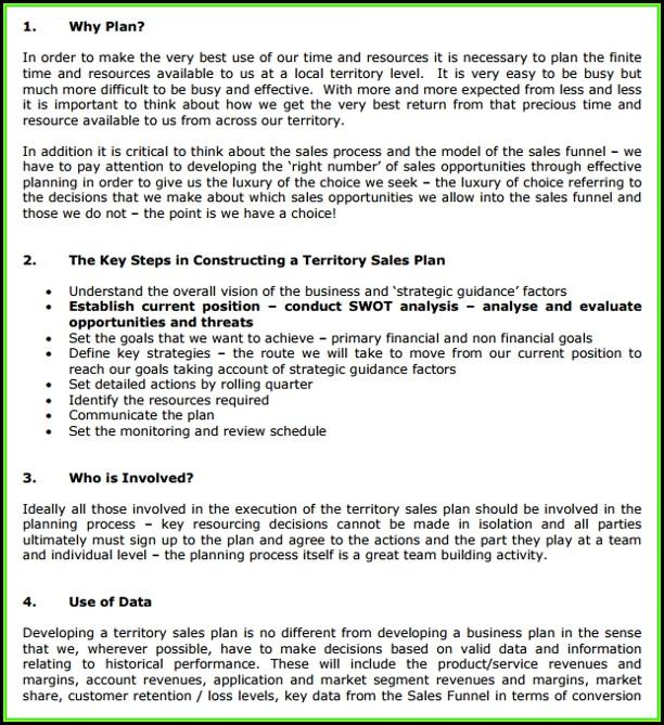 Sales Territory Plan Template