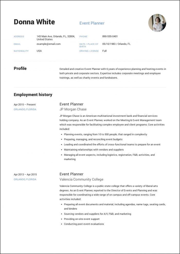 Sample Event Planner Resume Template