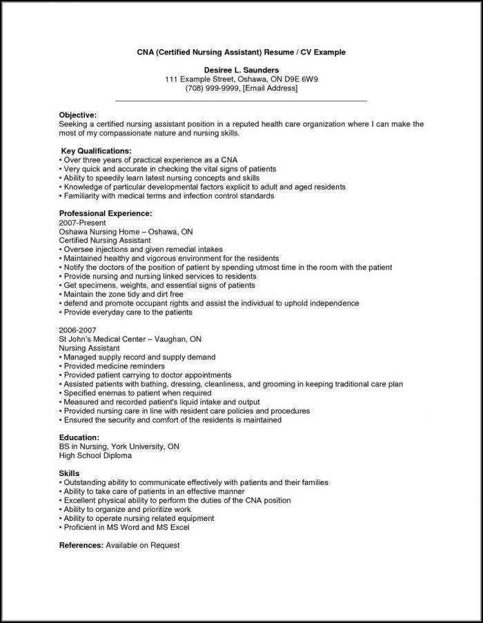 Sample Resume For Certified Nursing Assistant With No Experience