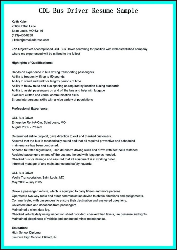 Sample Resume For Truck Drivers