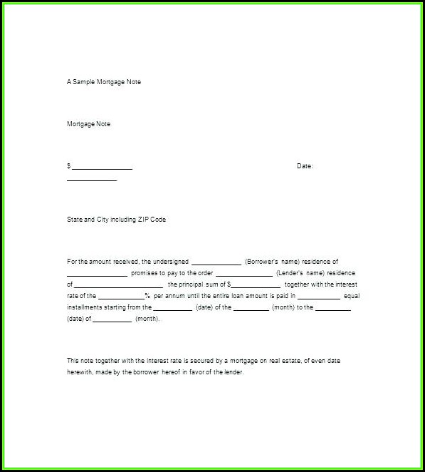 Secured Promissory Note Real Estate Template