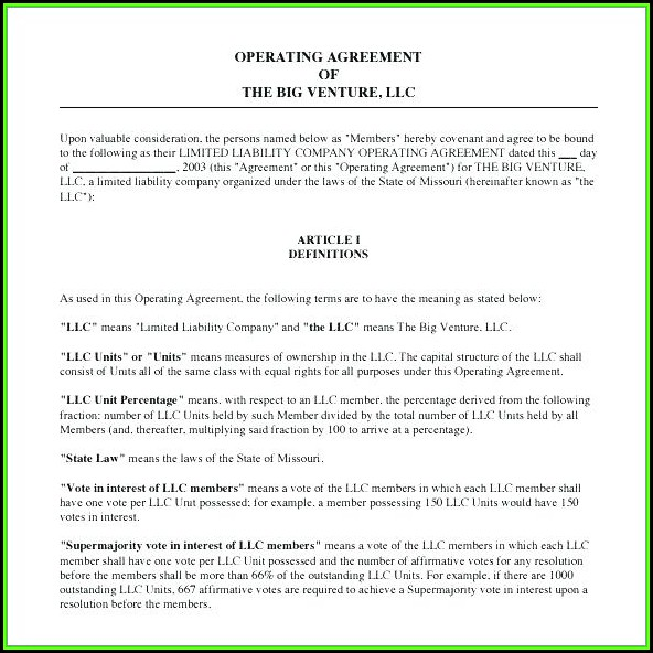 Team Operating Agreement Template Word