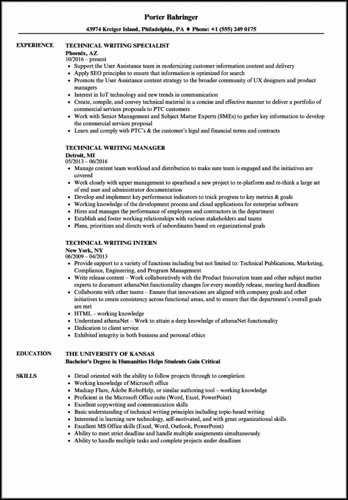 Technical Writing Resume Samples For Freshers