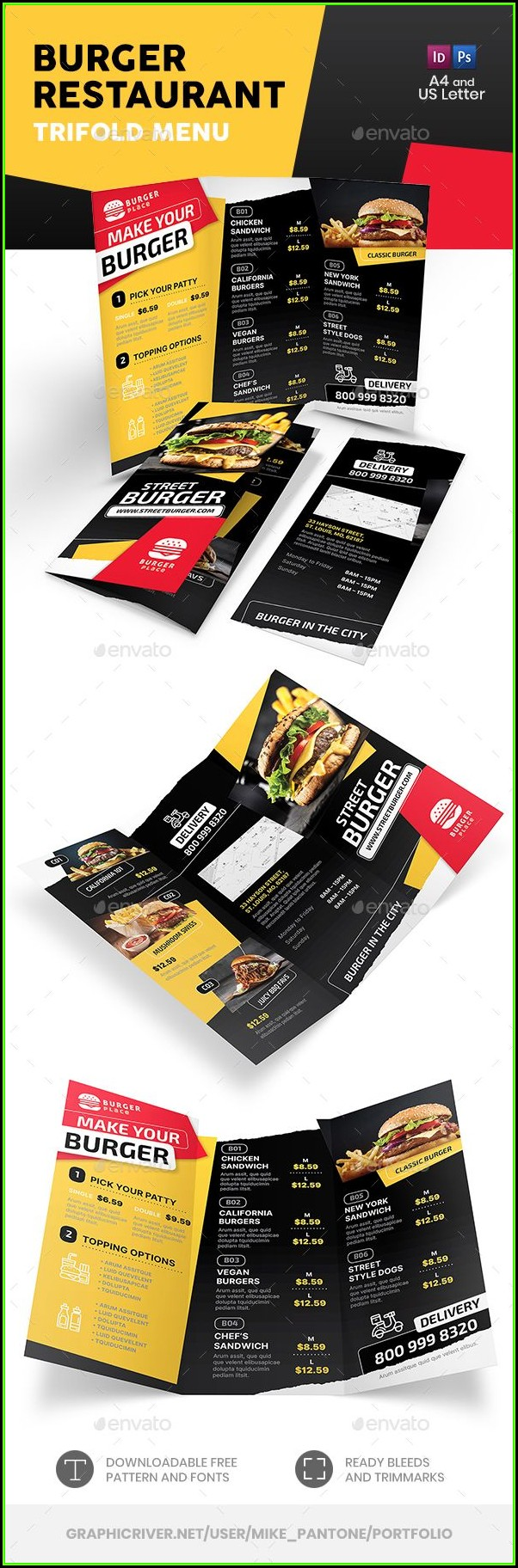 Tri Fold Menu Template Indesign