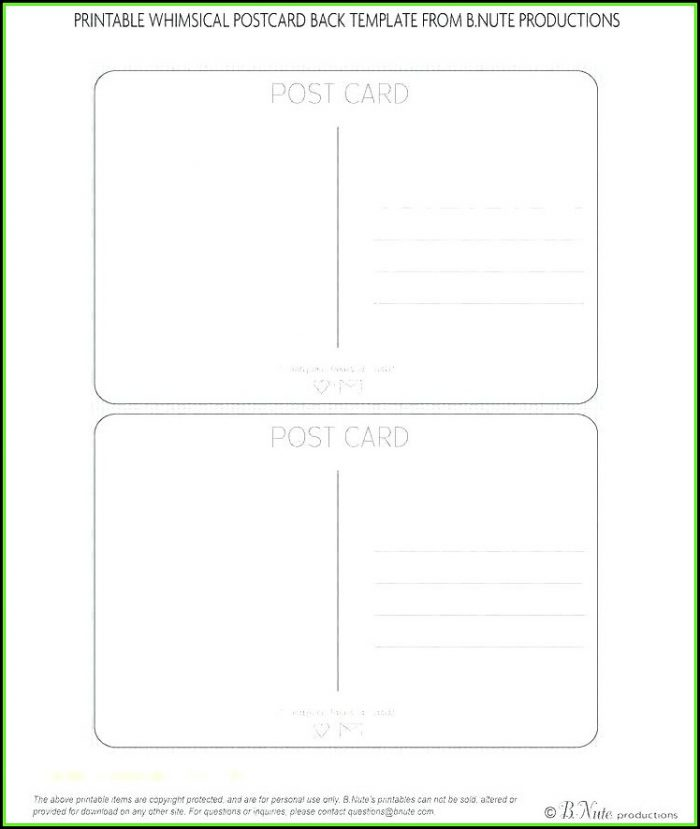 Vistaprint Postcard Back Template