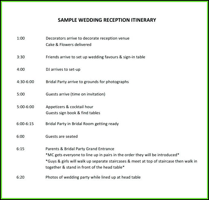 Wedding Day Itinerary Template Pdf